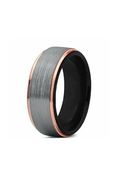 Unisex Gri Rose Kenarlı Tungsten Yüzük Dm85
