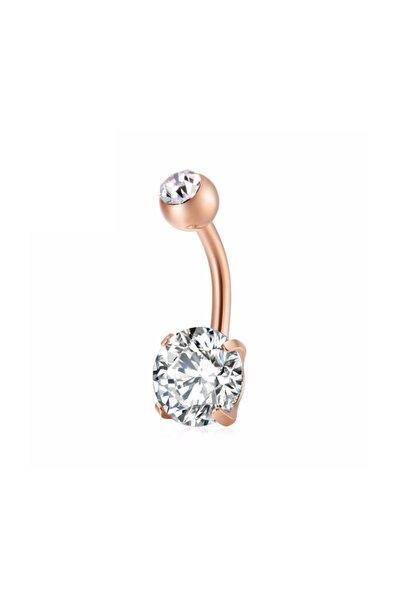 Beyaz Taşlı Rose Çelik Göbek Piercing Dt91rs