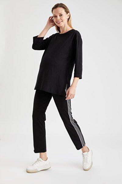 Kadın Siyah Relax Fit Renk Bloklu Hamile Pantolon