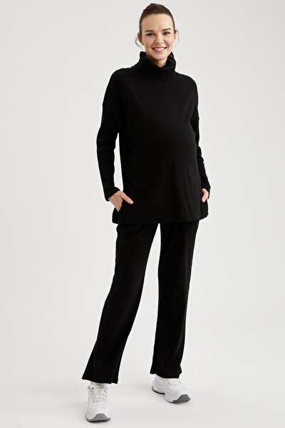 Kadın Siyah Geniş Paça Örme Hamile Pantolonu