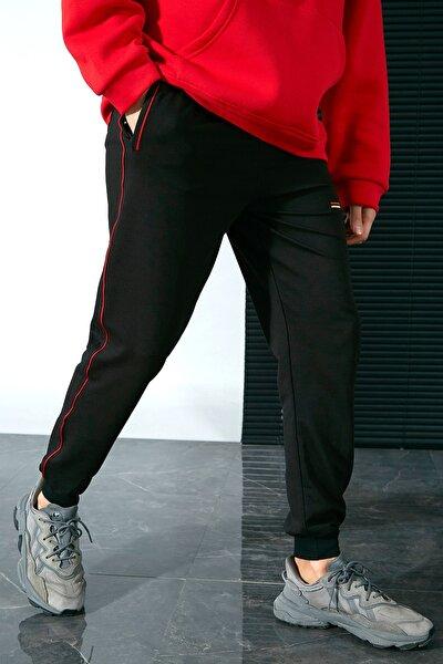 Erkek Siyah-Kırmızı Eşofman Altı