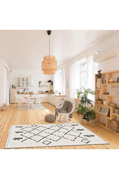 Baskılı Kilim Modern Siyah Kafes Görünüm Desenli Krem Zeminli