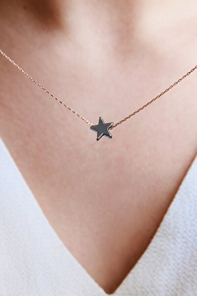 Kadın Rose Gümüş Zincirli Hematit Yıldız Kolye