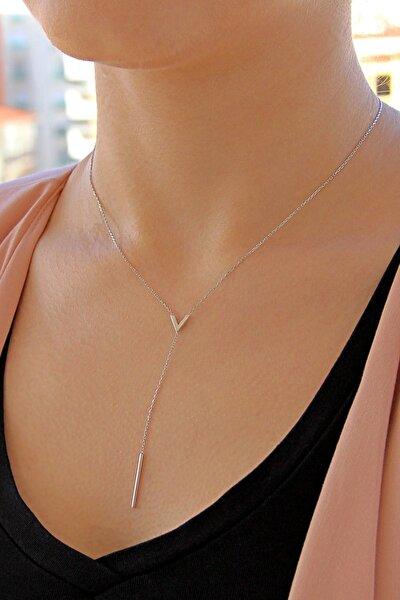 Kadın Sallantılı Gümüş V Kolye N117001