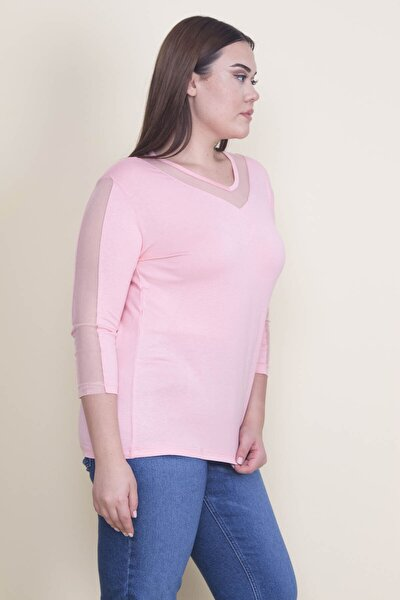 Kadın Pembe Tül Detaylı Bluz 65N21902