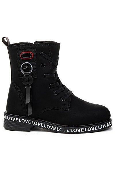 Kız Çocuk Siyah İçi Termal Kürklü Bot Ayakkabı 7085