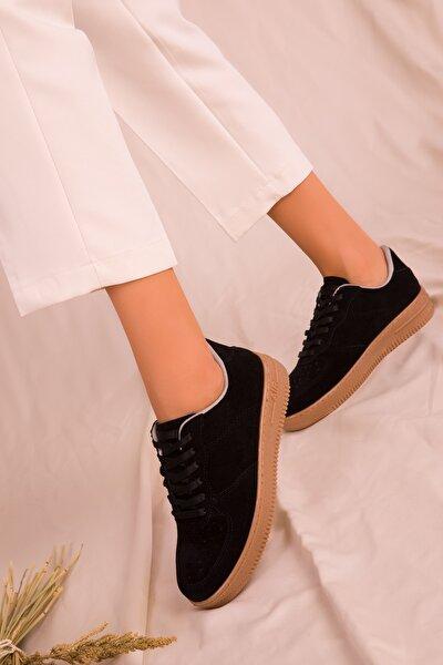 Siyah Suet Kadın Sneaker 15745