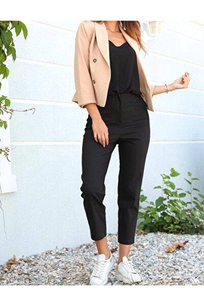 Kadın Siyah Yüksek Bel Dikişli Binici Pantolon 1071