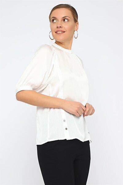 Kadın Ekru Sıfır Yaka Bluz K20BL080