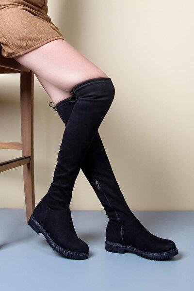 Siyah Kadın Dizüstü Çorap Çizme