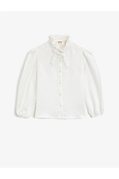 Kız Çocuk Beyaz Dik Yaka Fırfırlı Düğmeli Uzun Kollu Bluz