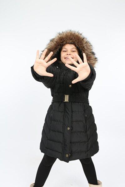 Kız Çocuk Siyah Kemerli Çıkarılabilir Kapüşonlu Içi Kürklü Şişme Mont