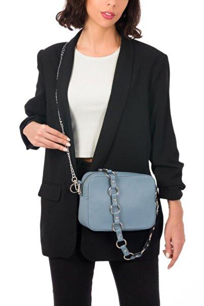 Kadın Mavi Zincir Detaylı Çıkarılabilir Askılı Omuz Çantası
