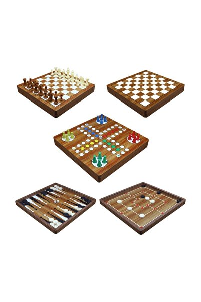 5'li Oyun Seti - Tavla - Dama - Kızma Birader - 9 Taş - Satranç Aynı Set Içinde Ahşap