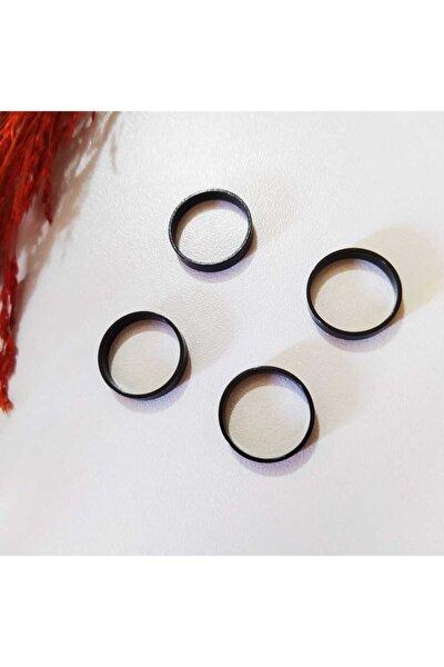 4'lü Set Siyah Renk Eklem Yüzüğü