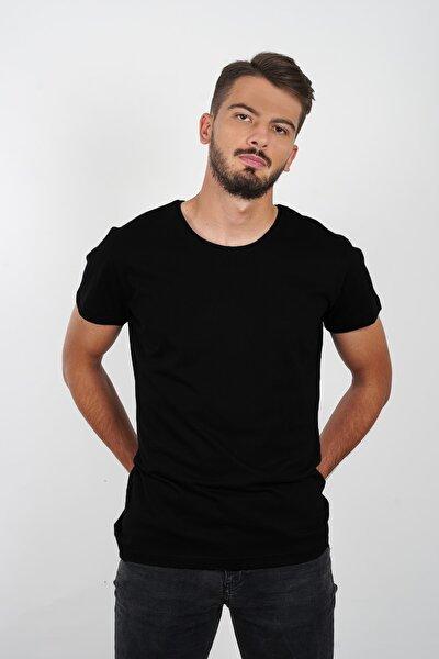 Noir %100 Pamuk Erkek Siyah Yuvarlak Yaka Basic Kısa Kollu T-shirt