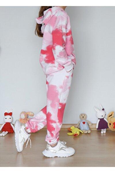 Batik Desen Kız Çocuk Sweat Shirt Renkli Kız Eşofman Takım Atlıkarınca Eşofman