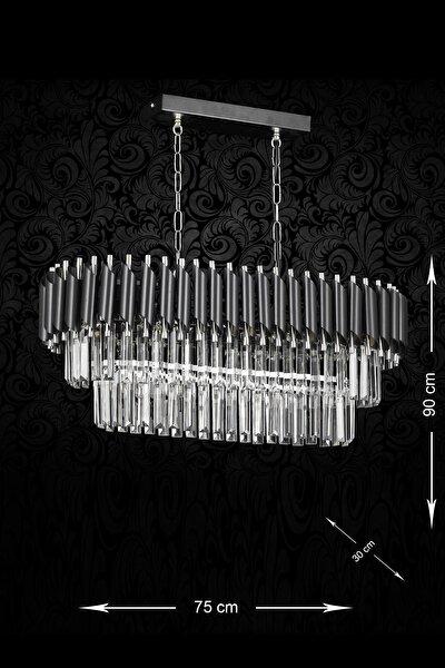 Siyah Krom Palmira 75x30 cm Kristal Taşlı Lüks Yemek Masası Üstü 6'lı Avize