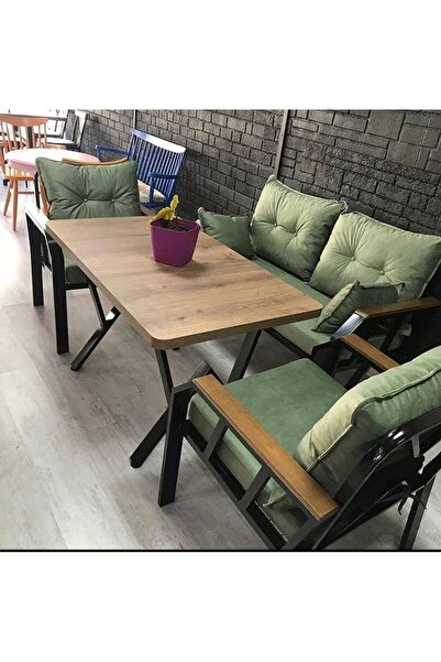 Yeşil Demonte Bahçe Balkon Takımı 2+1+1+ Masa