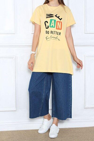 Kadın Sarı Baskılı Kısa Kol T-shirt