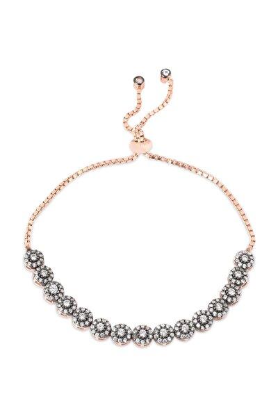 Kadın Pembe Altın Elmas Tasarım Asansörlü Gümüş Bileklik cz54