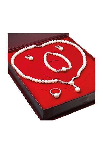 Kadın Beyaz İnci Gümüş Kolye Küpe Bileklik Yüzük Takım Set Ds39