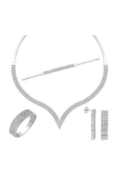 Kadın Beyaz Dört Sıra Su Yolu Gümüş Kolye Küpe Bileklik Yüzük Set dz29