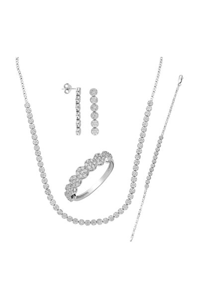 Kadın Beyaz Su Yolu Gümüş Kolye Küpe Bileklik Yüzük Set dz35