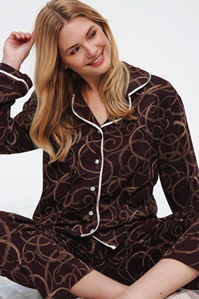 Kadın Kahverengi Desenli Gömlek Yaka Pijama Takım ALC-X5532
