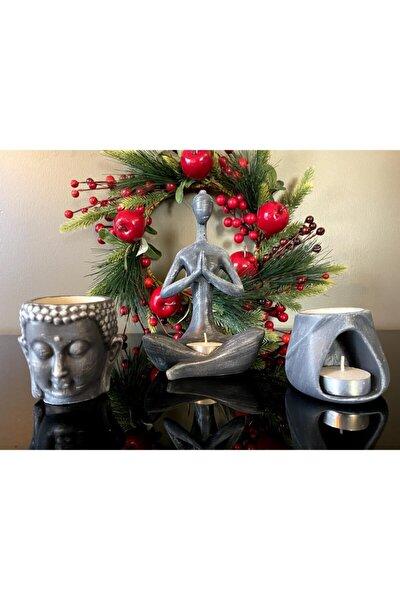 , Buhurdanlık 3'lü Set, Antrasit Siyah, Namaste Kadın, Budha Buhurdanlık Ve Tad Buhurdanlık