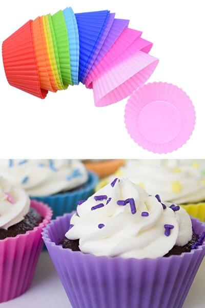 Yapışmaz Renkli Silikon Muffin 12'li, Mini Kek Kalıbı