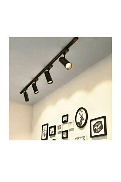 Modern Tasarım 4 Adet 360 Derece Dönen Led Ray Spot Lamba 1 Metre Raylı Armatür Siyah Kasa Günışığı