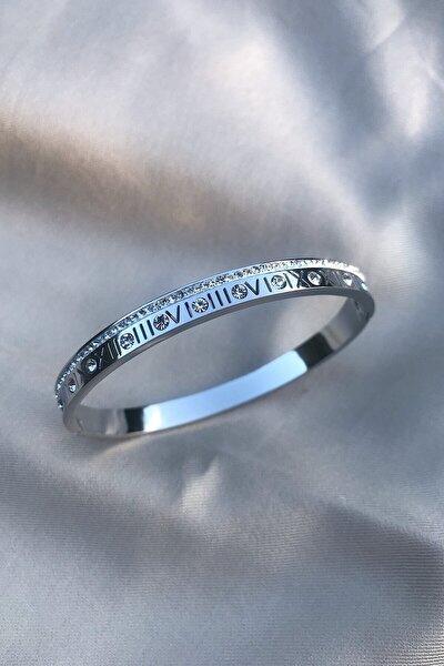 Roma Rakamlı Zirkon Taşlı Gümüş Rengi 316l Çelik Bileklik