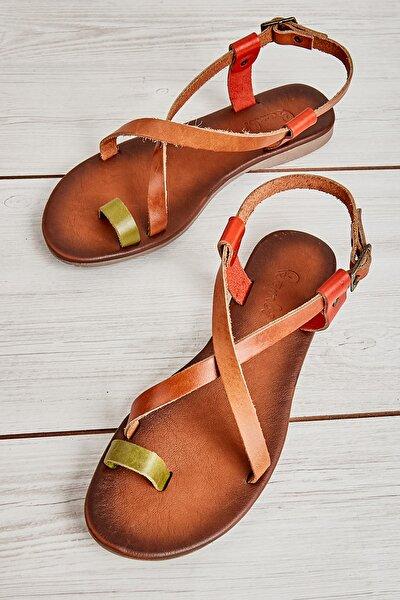 Hakiki Deri Yeşil Taba Kadın Sandalet K05685162103