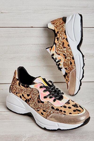 Altın/leopar Tay Kadın Sneaker