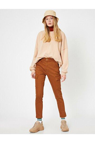 Kadın Dügme Detayli Pantolon