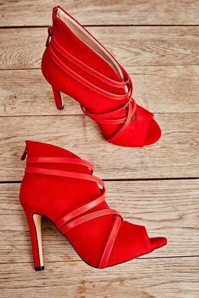 Kırmızı Süet Kadın Abiye Ayakkabı L0501901665