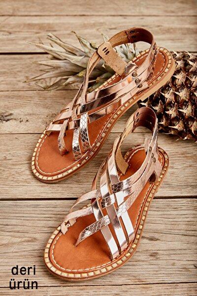 Hakiki Deri Pembe Kadın Sandalet L06025080