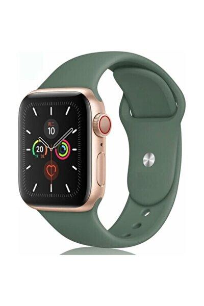 Apple Watch 38 - 40 Mm Spor Kordon Silikon Kayış Koyu Yeşil