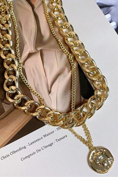 2li Altın Kaplama Madalyon Bayan Zincir Kolye