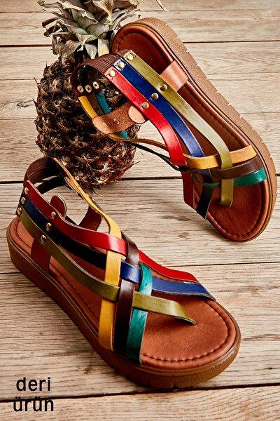 Hakiki Deri Çok Renkli Kadın Sandalet L0529030503