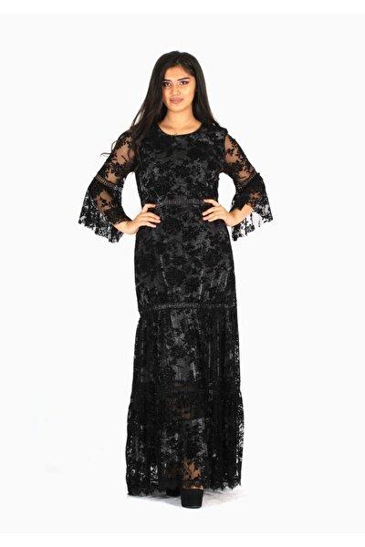 Flok Baskılı Dantel Detaylı Elbise