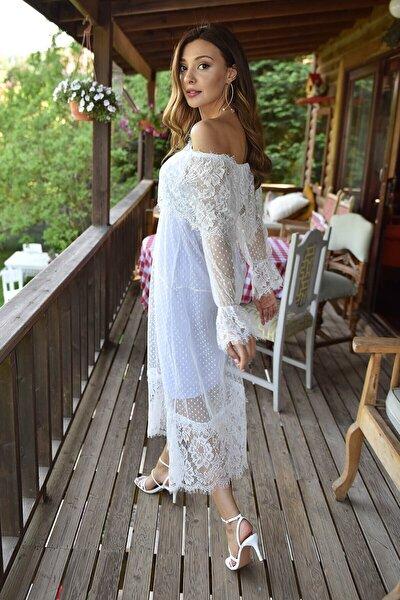 Beyaz Güpür Kayık Yaka Elbise