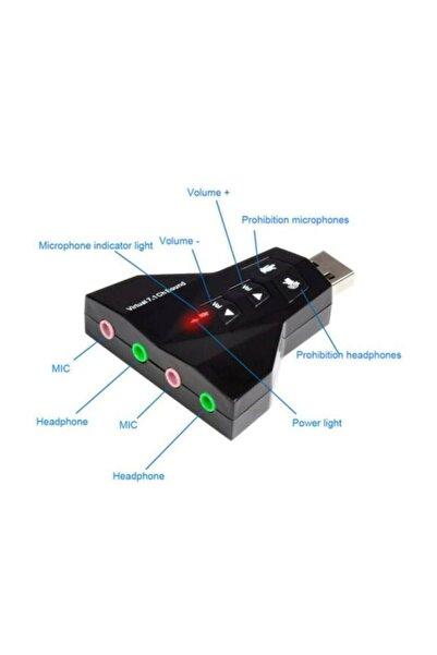 7.1 Usb Ses Kartı 7 Kanal Destekli Kablolu Çift Audıo Çevirici Dönüştürücü Haricı Mikrofonlu