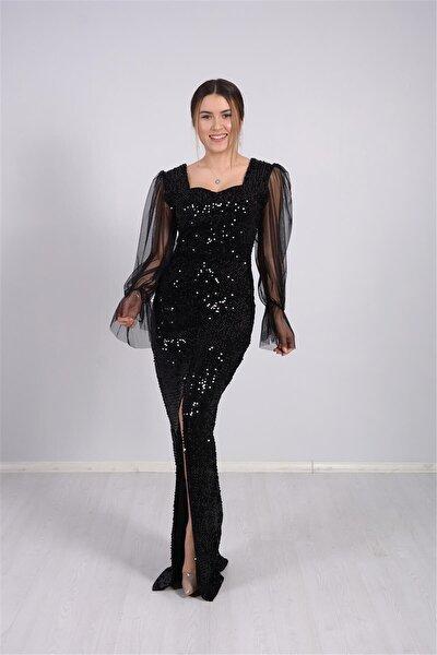 Kolları Tül Detaylı Payet Tasarım Elbise - Siyah