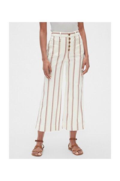Kadın Yüksek Bel Çizgili Wide-fit Pantolon