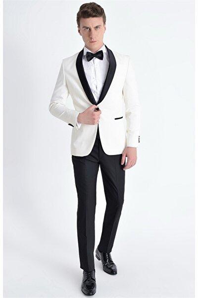 003 Slim Fit Krem Black Ceket