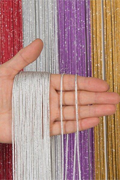 Beyaz Renk Gümüş Simli Model Kalın Zincir Serisi Ip Perde