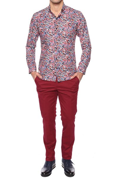 P 990 Slim Fit Bordo Kanvas Pantolon