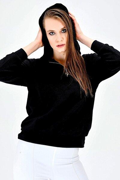 Alcantra Kapişonlu Yakası Fermuarlı Uzun Kol Bluz -siyah